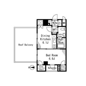 1DK {building type} in Shimizu - Suginami-ku Floorplan