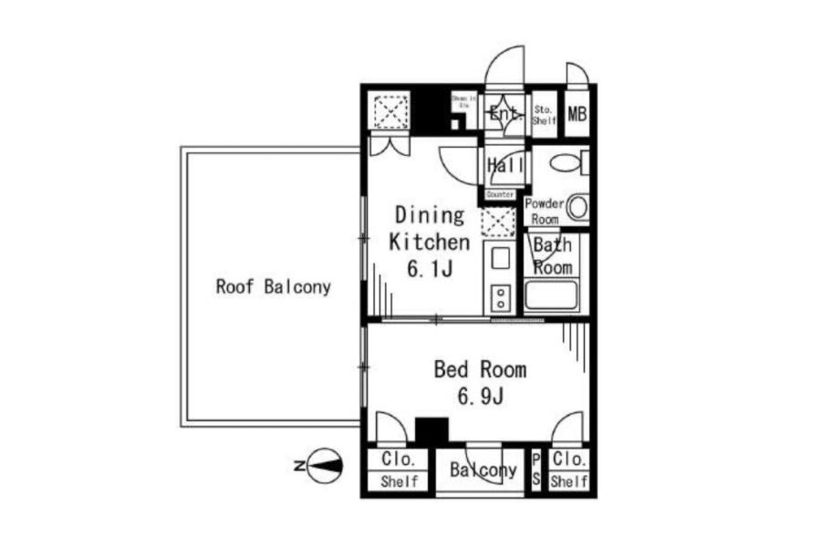 1DK Apartment to Buy in Suginami-ku Floorplan