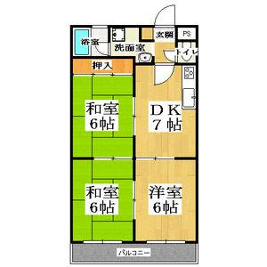 3DK Mansion in Saiin takadacho - Kyoto-shi Ukyo-ku Floorplan