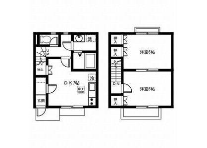 2DK Terrace house to Rent in Nagoya-shi Nakagawa-ku Floorplan