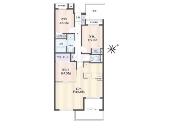 3LDK Apartment to Buy in Nara-shi Floorplan