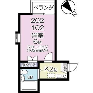1K Apartment in Fujisaki - Narashino-shi Floorplan