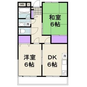 2DK Mansion in Minamiyawata - Ichikawa-shi Floorplan