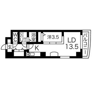1LDK Mansion in Izumi - Nagoya-shi Higashi-ku Floorplan