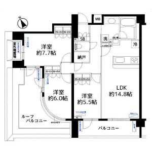3LDK 맨션 in Tomigaya - Shibuya-ku Floorplan