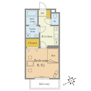 1R Mansion in Katsushikacho - Funabashi-shi Floorplan