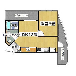 1LDK Mansion in Saiwaicho - Osaka-shi Naniwa-ku Floorplan