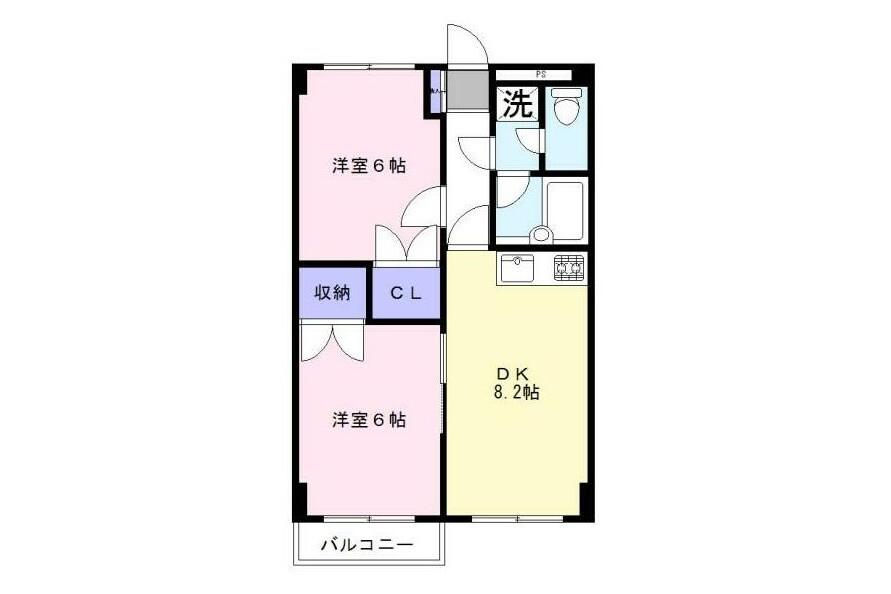 2DK Apartment to Buy in Niiza-shi Floorplan