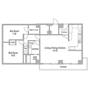2LDK Mansion in Yoyogi - Shibuya-ku Floorplan