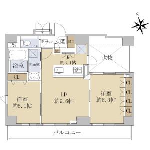 2LDK {building type} in Toranomon - Minato-ku Floorplan
