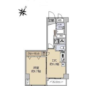 1DK {building type} in Tsukiji - Chuo-ku Floorplan