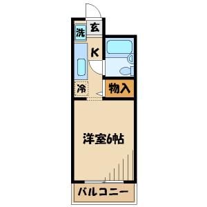 1K Mansion in Manganji - Hino-shi Floorplan