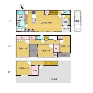 4LDK {building type} in Higashiimazato - Osaka-shi Higashinari-ku Floorplan