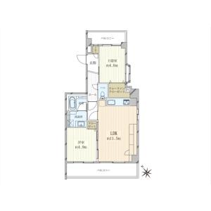 2LDK {building type} in Nishigotanda - Shinagawa-ku Floorplan