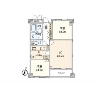 2LDK {building type} in Tsurumaki - Setagaya-ku Floorplan