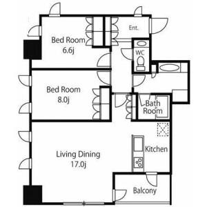2LDK Mansion in Kojimachi - Chiyoda-ku Floorplan