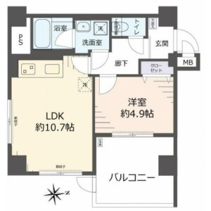 1LDK {building type} in Higashiobase - Osaka-shi Higashinari-ku Floorplan
