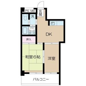 北區赤羽北-2DK公寓大廈 房間格局