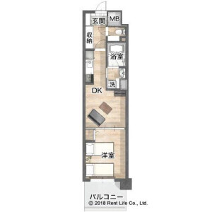 1DK Mansion in Shinyokohama - Yokohama-shi Kohoku-ku Floorplan