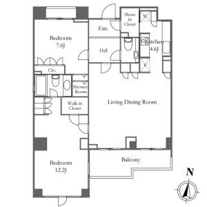 2LDK Mansion in Kamiosaki - Shinagawa-ku Floorplan