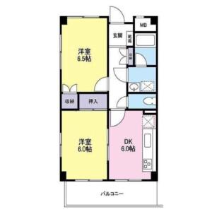 2DK Mansion in Nishikicho - Tachikawa-shi Floorplan