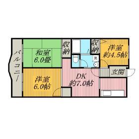 3DK Mansion in Inagehigashi - Chiba-shi Inage-ku Floorplan