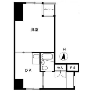 新宿区 富久町 1DK {building type} 間取り