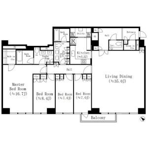 4LDK Mansion in Ichigayasadoharacho - Shinjuku-ku Floorplan