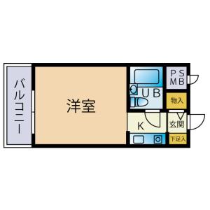 1R Mansion in Nishitsuruma - Yamato-shi Floorplan