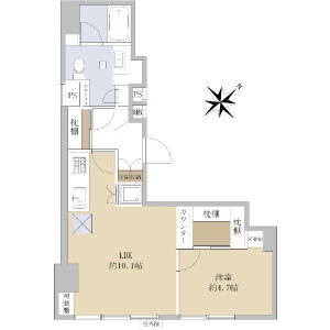 1LDK {building type} in Shintomi - Chuo-ku Floorplan