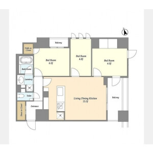 3LDK Mansion in Irifune - Chuo-ku Floorplan