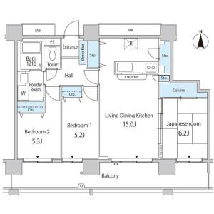 3LDK Mansion in Kachidoki - Chuo-ku Floorplan