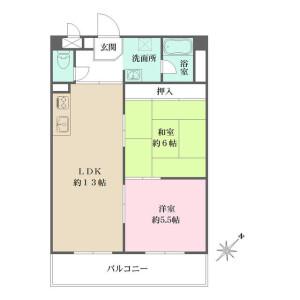 2LDK Mansion in Matsudo - Matsudo-shi Floorplan