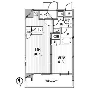 港区東麻布-1LDK公寓大厦 楼层布局