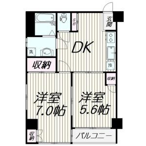 2DK Mansion in Miyanishicho - Fuchu-shi Floorplan