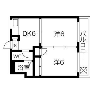 神戸市灘區一王山町-2DK公寓大廈 房間格局