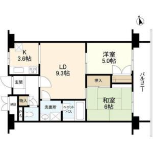 2LDK {building type} in Shibaura(1-chome) - Minato-ku Floorplan
