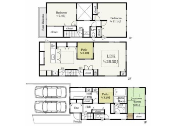 3LDK House to Buy in Meguro-ku Floorplan
