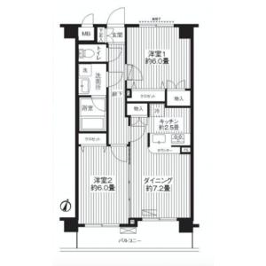 2DK Mansion in Kamishinozaki - Edogawa-ku Floorplan