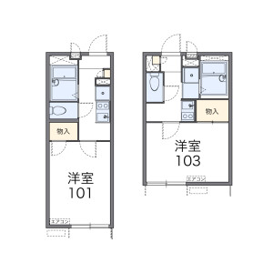 1K 아파트 in Nishitakenomaru - Yokohama-shi Naka-ku Floorplan