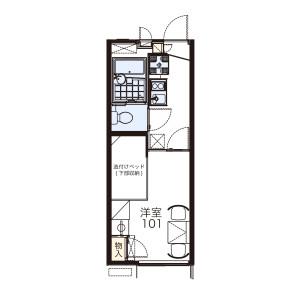 1K Apartment in Momoyamacho tango - Kyoto-shi Fushimi-ku Floorplan