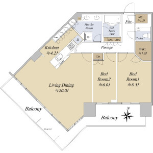 2LDK {building type} in Toyosu - Koto-ku Floorplan