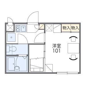 1K Apartment in Uriwari - Osaka-shi Hirano-ku Floorplan