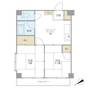 2DK Mansion in Koyama - Shinagawa-ku Floorplan
