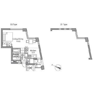 1K 맨션 in Akasaka - Minato-ku Floorplan