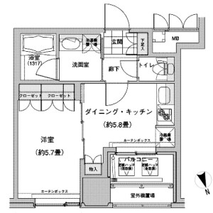 1DK Mansion in Nishiikebukuro - Toshima-ku Floorplan