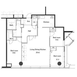 3LDK Mansion in Hamamatsucho - Minato-ku Floorplan