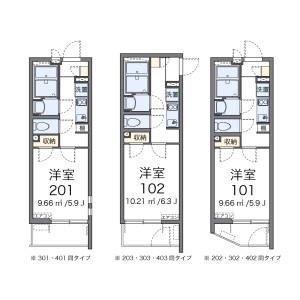 横浜市磯子区西町-1K公寓 楼层布局