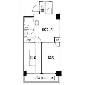 中央区日本橋中洲-2DK公寓大厦 楼层布局