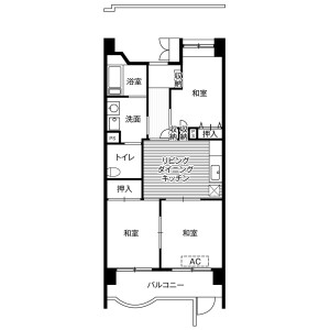 2LDK Mansion in Shiomi - Koto-ku Floorplan